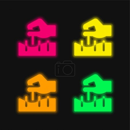 Illustration for Acupuncture four color glowing neon vector icon - Royalty Free Image