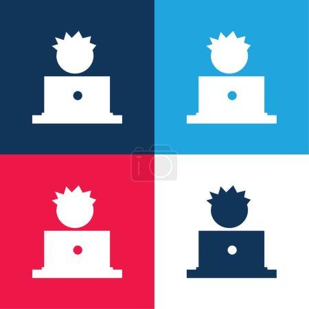 Illustration pour Garçon Et Ordinateur bleu et rouge quatre couleurs minimum jeu d'icônes - image libre de droit