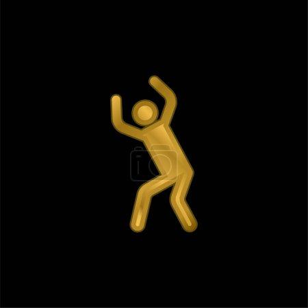Illustration pour Angry Silhouette plaqué or icône métallique ou logo vecteur - image libre de droit