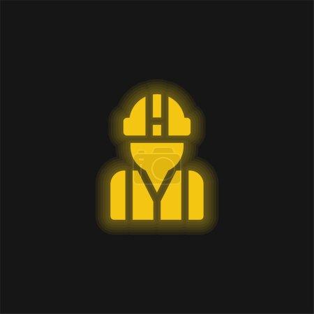 Illustration pour Architecte jaune brillant icône néon - image libre de droit