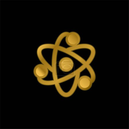Foto de Átomo chapado en oro icono metálico o logo vector - Imagen libre de derechos