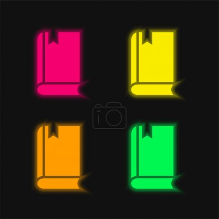 Photo pour Livre quatre couleur brillant icône vectorielle néon - image libre de droit