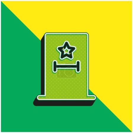 Illustration pour Dans les coulisses Logo vectoriel 3D moderne vert et jaune - image libre de droit