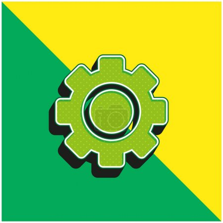 Illustration for Big Gear Green and yellow modern 3d vector icon logo - Royalty Free Image