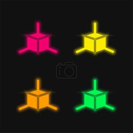 Photo pour Modélisation 3d quatre couleurs rougeoyantes icône vectorielle néon - image libre de droit