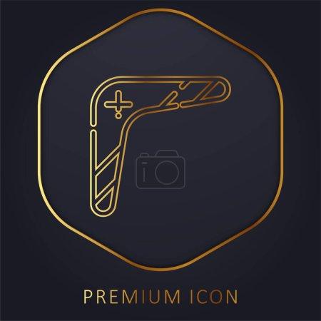 Photo pour Boomerang ligne d'or logo premium ou icône - image libre de droit