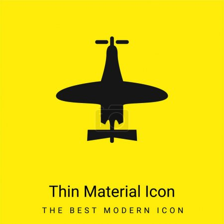 Illustration for Airplane Of Small Size Top View minimal bright yellow material icon - Royalty Free Image