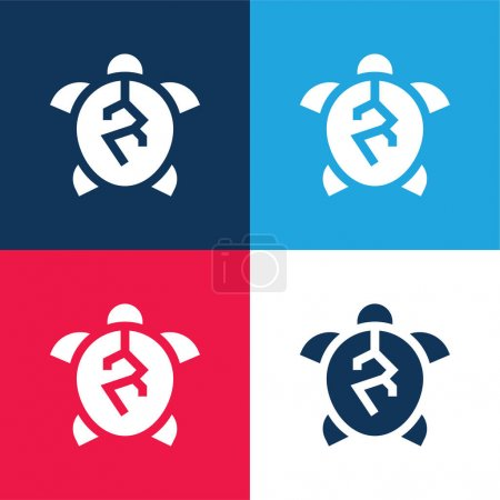 Animal Cruelty blue and red four color minimal icon set