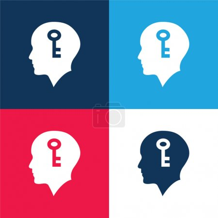 Illustration for Bald Head With A Key Inside blue and red four color minimal icon set - Royalty Free Image