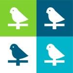 Bird Flat four color minimal icon set...
