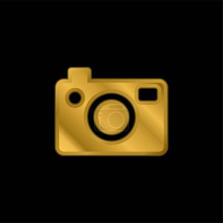 Illustration pour Grand appareil photo plaqué or icône métallique ou logo vecteur - image libre de droit