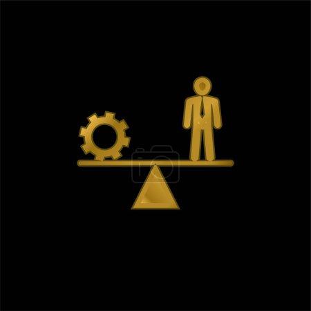Illustration pour Équilibre entre roue dentée et homme d'affaires plaqué or icône métallique ou logo vecteur - image libre de droit