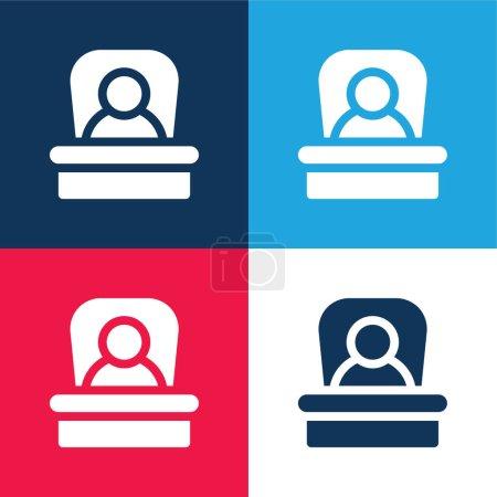Illustration pour Patron bleu et rouge quatre couleurs minimum jeu d'icônes - image libre de droit