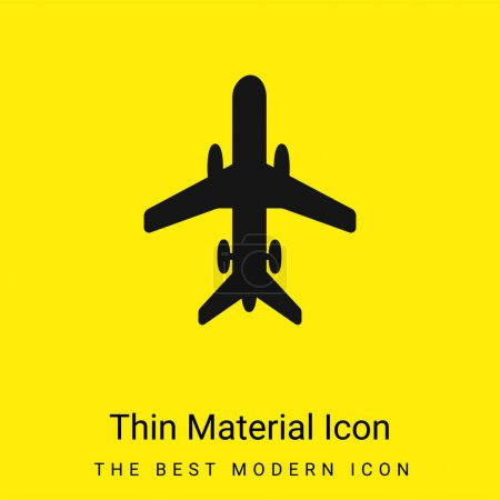 Photo for Airplane With Wheels minimal bright yellow material icon - Royalty Free Image