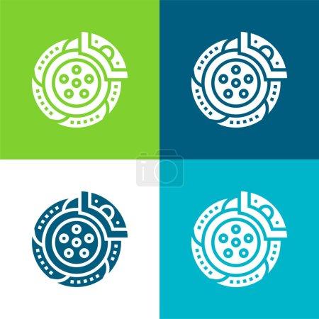 Illustration pour Frein Ensemble d'icônes minimal plat quatre couleurs - image libre de droit