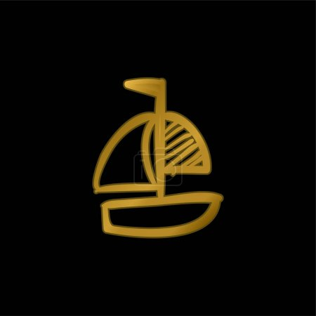 Boat Hand Drawn Toy gold plated metalic icon or logo vector