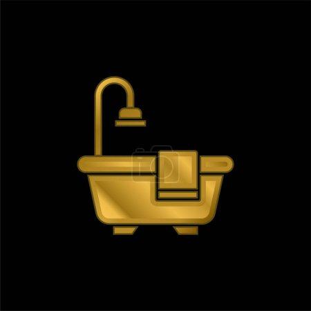 Bathtub gold plated metalic icon or logo vector