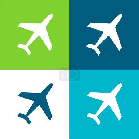 Illustration pour Airliner Flat quatre couleurs minimum icône ensemble - image libre de droit