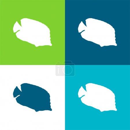 Illustration pour Silhouette de bannière Ensemble d'icônes minimal plat de quatre couleurs - image libre de droit