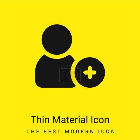 Illustration pour Ajouter Ami minime icône matériau jaune vif - image libre de droit