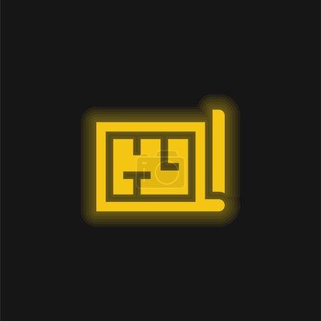 Architecture jaune brillant icône néon