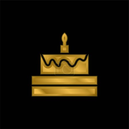Illustration pour Gâteau d'anniversaire plaqué or icône métallique ou vecteur de logo - image libre de droit
