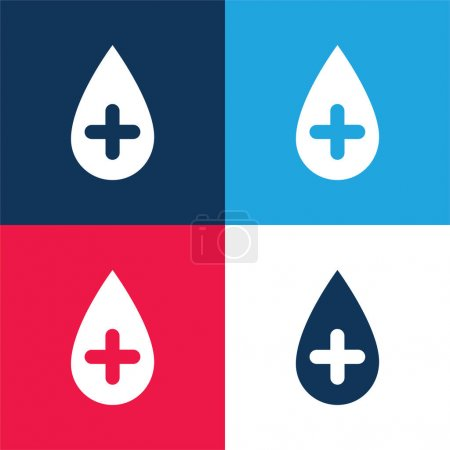 Illustration for Blood blue and red four color minimal icon set - Royalty Free Image