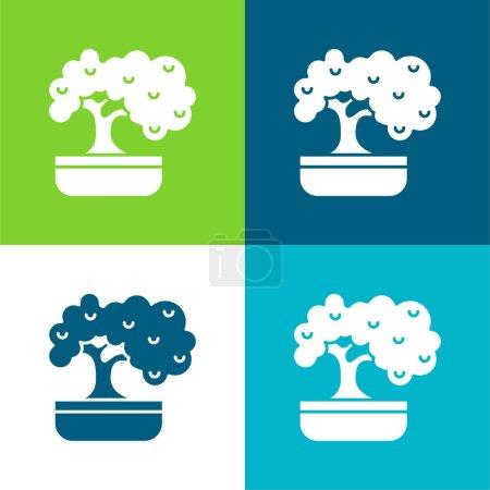 Illustration pour Bonsai Ensemble d'icônes minime à quatre couleurs - image libre de droit