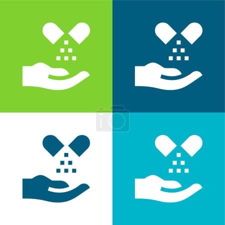 Foto de Medicina alternativa Plano de cuatro colores mínimo icono conjunto - Imagen libre de derechos