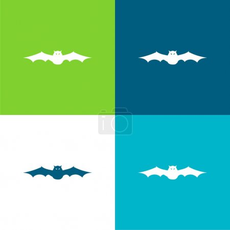 Bat With Extended Wings In Frontal View Flat four color minimal icon set