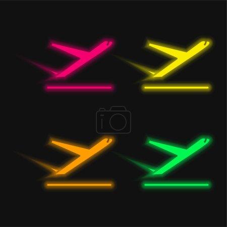 Illustration pour Avion quatre couleur brillant icône vectorielle néon - image libre de droit