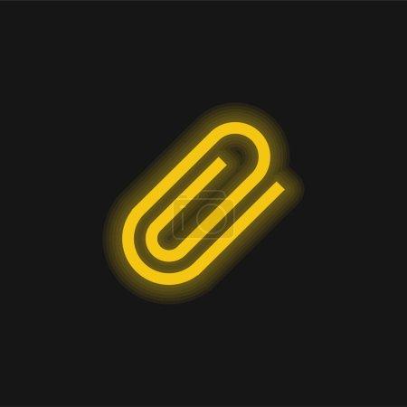 Illustration pour Attachez le symbole d'interface de l'icône lumineuse jaune de néon de Paperclip rotative - image libre de droit