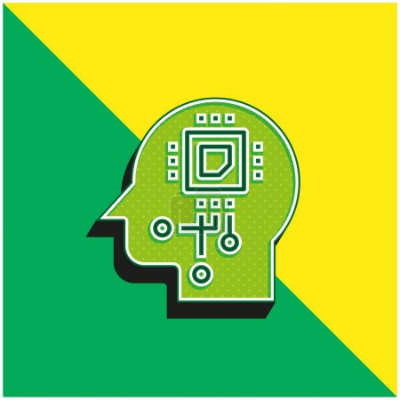 Photo for Artificial Intelligence Green and yellow modern 3d vector icon logo - Royalty Free Image