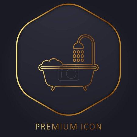 Baignoire ligne dorée logo premium ou icône