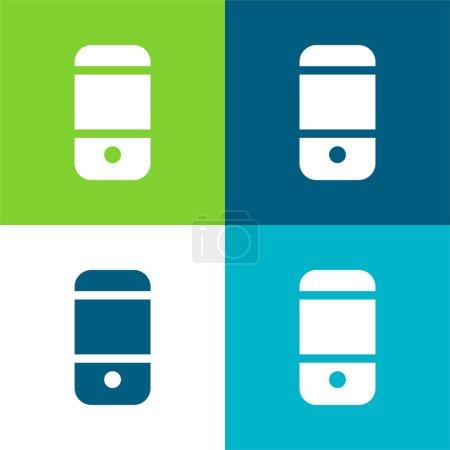 Illustration pour Téléphone cellulaire noir Retour Ensemble d'icônes minime plat quatre couleurs - image libre de droit