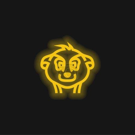 Animal Head Outline icono de neón brillante amarillo