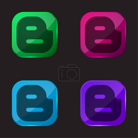 Illustration for Blogger four color glass button icon - Royalty Free Image
