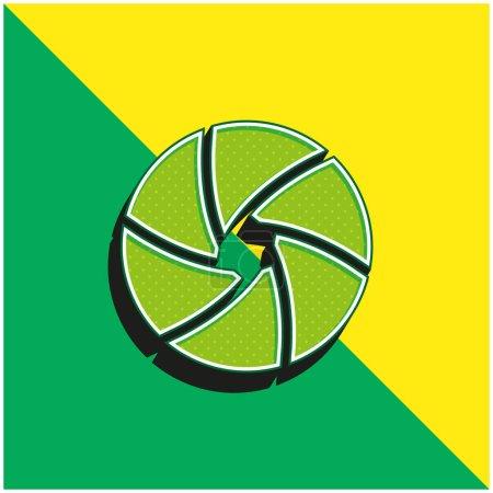 Blende Grünes und gelbes modernes 3D-Vektorsymbol-Logo