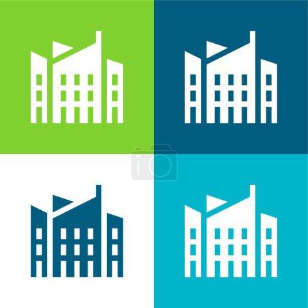 Photo pour Architecture Ensemble d'icônes minimal plat quatre couleurs - image libre de droit