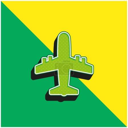 Photo pour Avion Logo vectoriel 3D moderne vert et jaune - image libre de droit