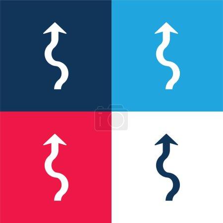 Illustration pour Flèche Squiggly bleu et rouge quatre couleurs minimum jeu d'icônes - image libre de droit
