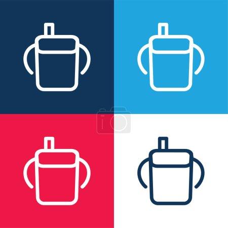 Photo pour Bébé bouteille à boire contour avec poignées latérales bleu et rouge ensemble d'icône minimale de quatre couleurs - image libre de droit