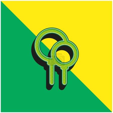 Balloon Party Green and yellow modern 3d vector icon logo