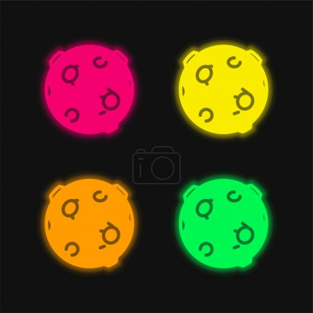 Black Ball With Circles four color glowing neon vector icon