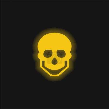 Photo for Big Skull yellow glowing neon icon - Royalty Free Image