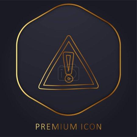 Alert Hand Drawn Sign golden line premium logo or icon