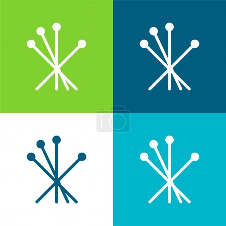 Acupuncture Flat four color minimal icon set