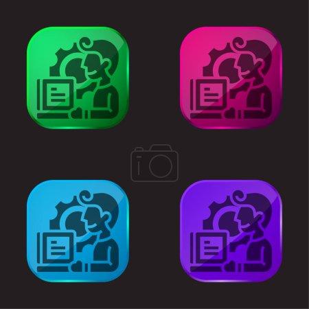 Illustration pour Application icône de bouton en verre quatre couleurs - image libre de droit