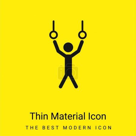 Illustration pour Athlète pendaison de anneaux couple pour pratiquer la gymnastique minimale icône matériau jaune vif - image libre de droit