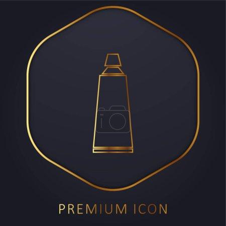 Illustration pour Dentifrice salle de bain Tube ligne dorée logo premium ou icône - image libre de droit